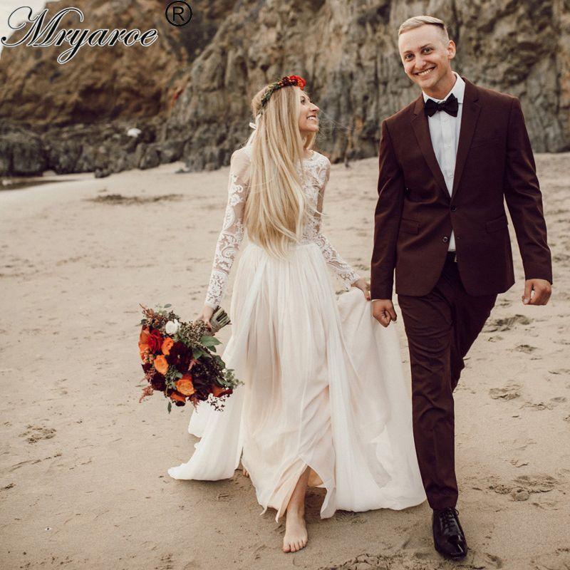 Mryarce Modest Long Sleeve Beach Wedding Dresses Lace Appliqued