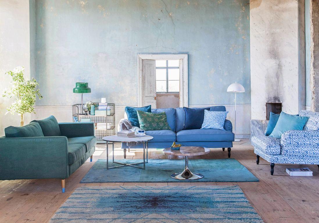 Un salon au total look bleu assumé | Déco | Pinterest | Salons ...