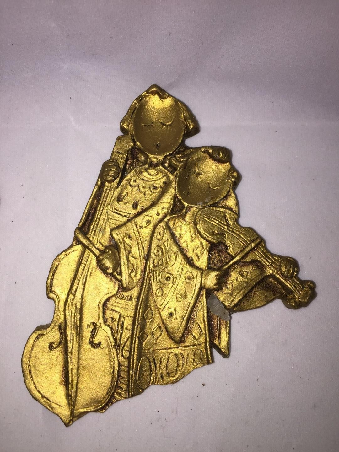 Violin christmas ornaments - Vintage Angel Christmas Ornaments Made In Italy Gold Gilt Musical Playing Instruments