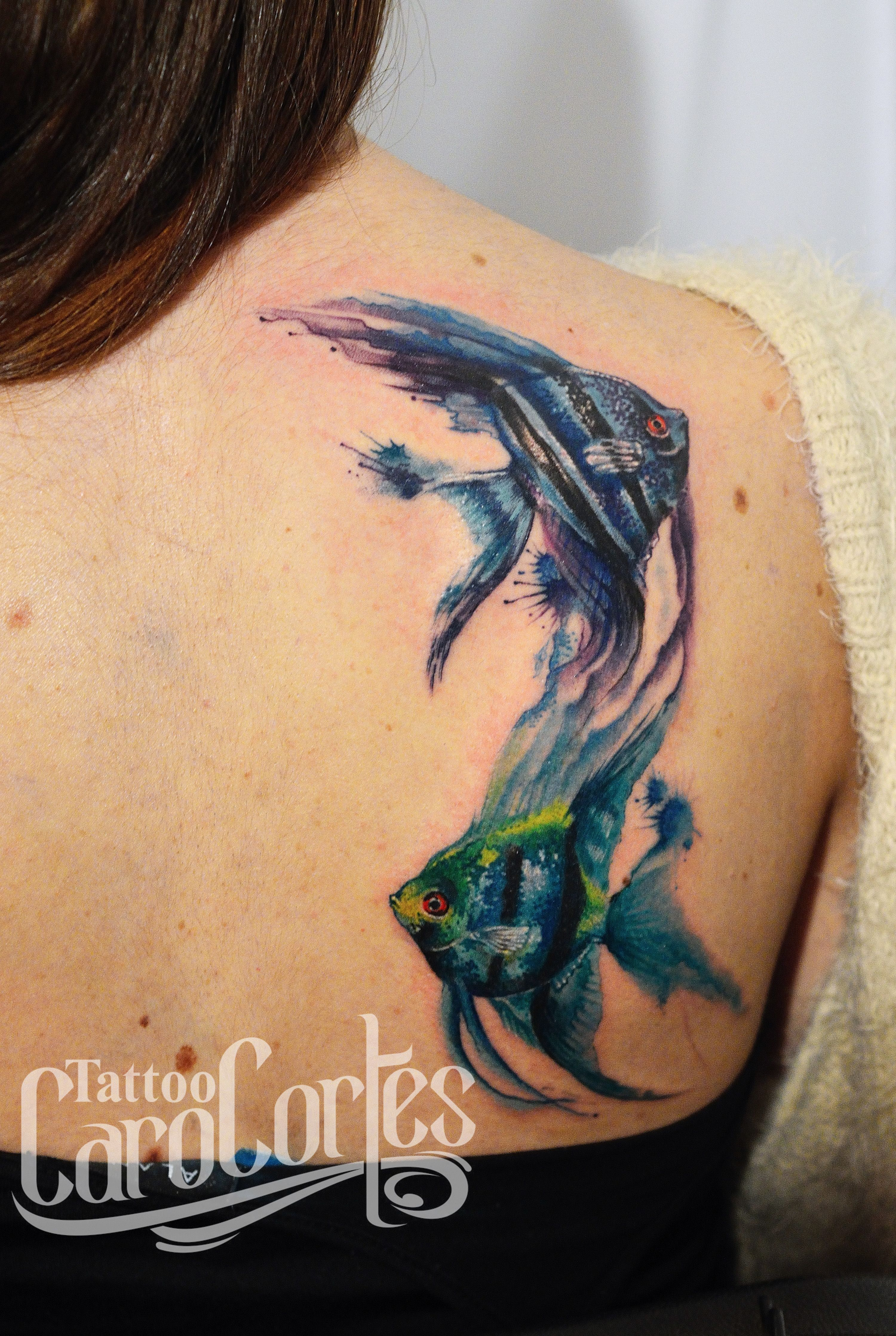 love the idea of a watercolor angelfish tattoo this is the best i rh pinterest com Caribbean Blue Angelfish Queen Angelfish