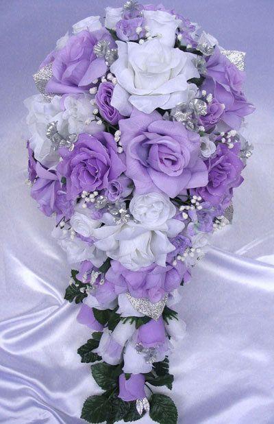 Free Shipping Wedding Bouquet Bridal Silk Flower LAVENDER SILVER WHITE Cascade 21 Pcs Decoration Centerpieces