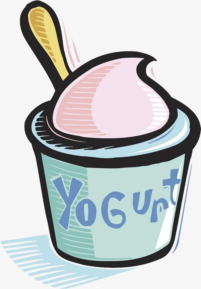 Yogurt Cup Spoon Cartoon Vector Illustration Stock Vector (Royalty Free)  210251485