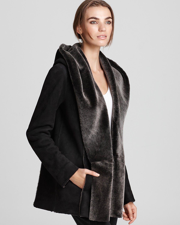 Vince Coat Shearling Hooded Coats & Jackets Apparel