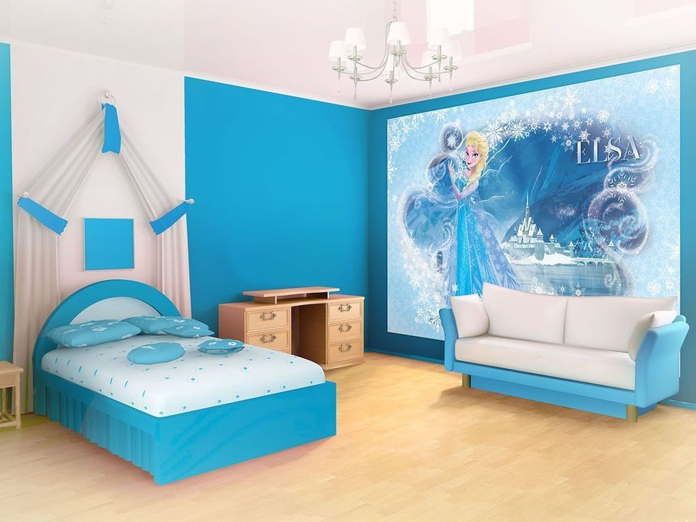 Wallpaper disney frozen new photo wall mural for children for Disney wall stencils for painting kids rooms
