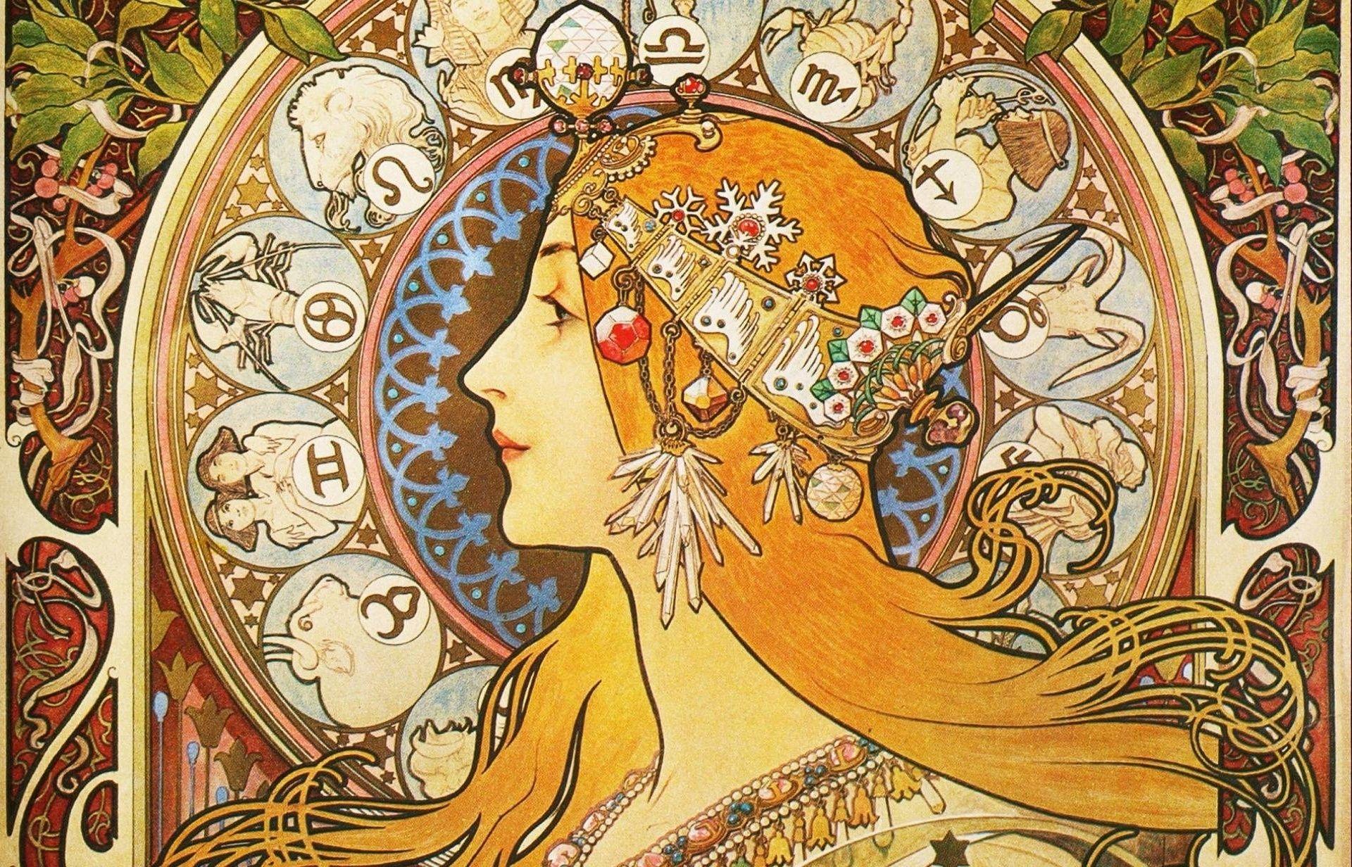 10 Best Art Nouveau Desktop Wallpaper Full Hd 1080p For Pc Desktop Art Nouveau Poster Mucha Art Alphonse Mucha Art