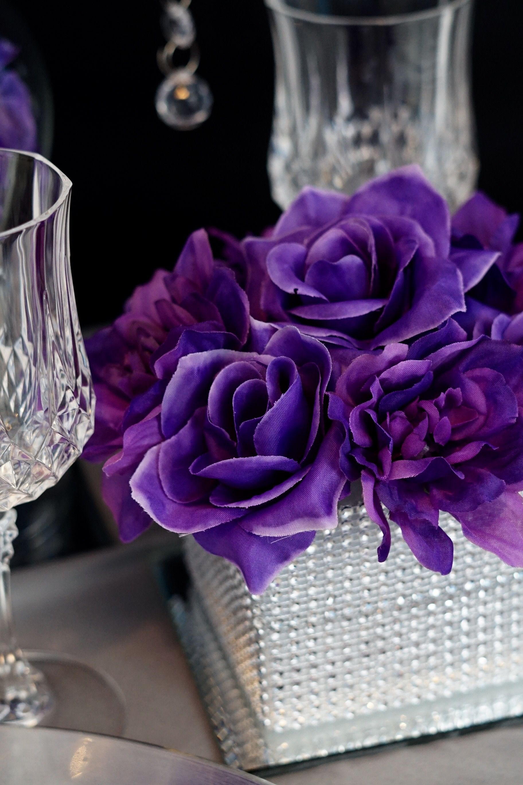 Purple And Lavender Wedding Reception Centerpiece By Floral Fields