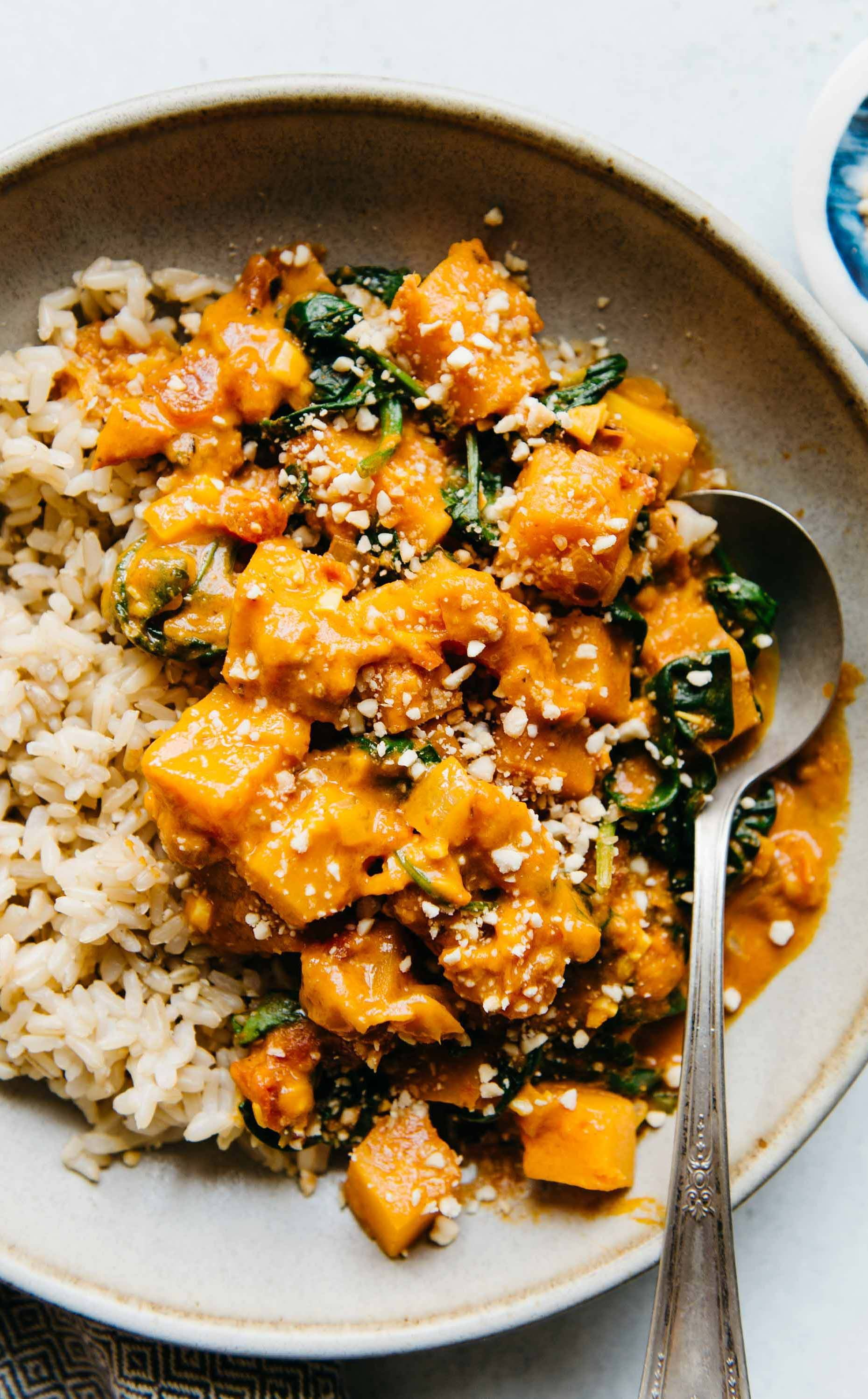Vegan Butternut Squash Curry With Spinach Recipe Butternut Squash Curry Curry Vegan