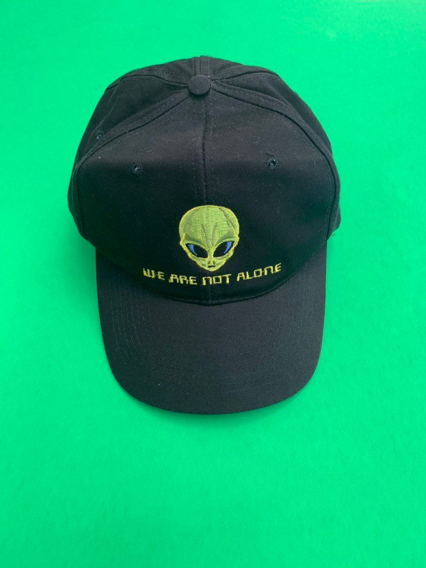 a09a49a8 We Are Not Alone Hat Vintage Embroidered Alien Snapback 90s Outer Space Adjustable  Cap | vintage accessories (bags, hats, handkerchiefs, etc.