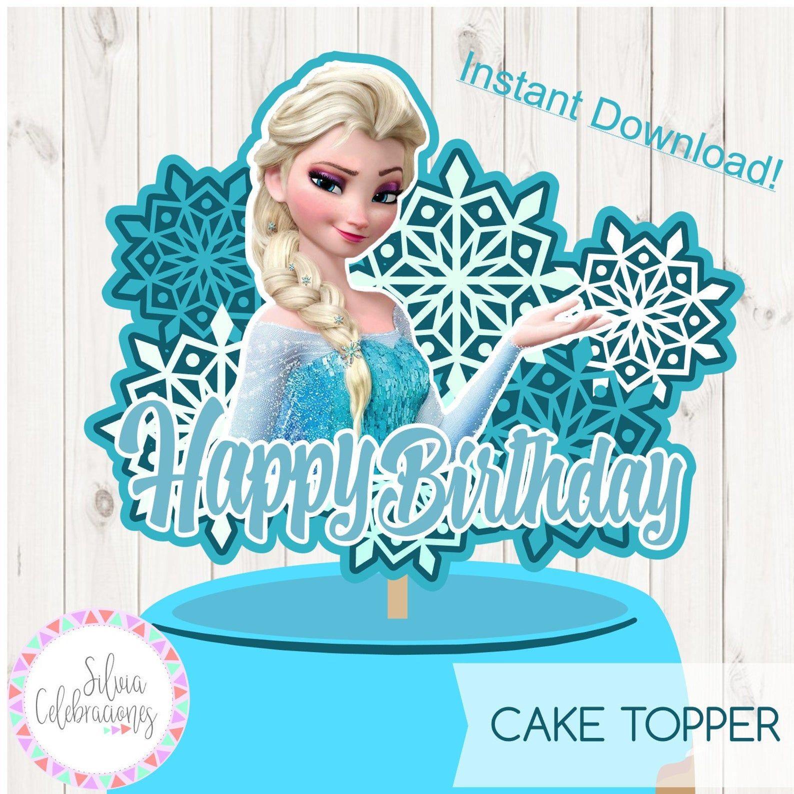 Frozen instant download elsaprintable cake topper elsa