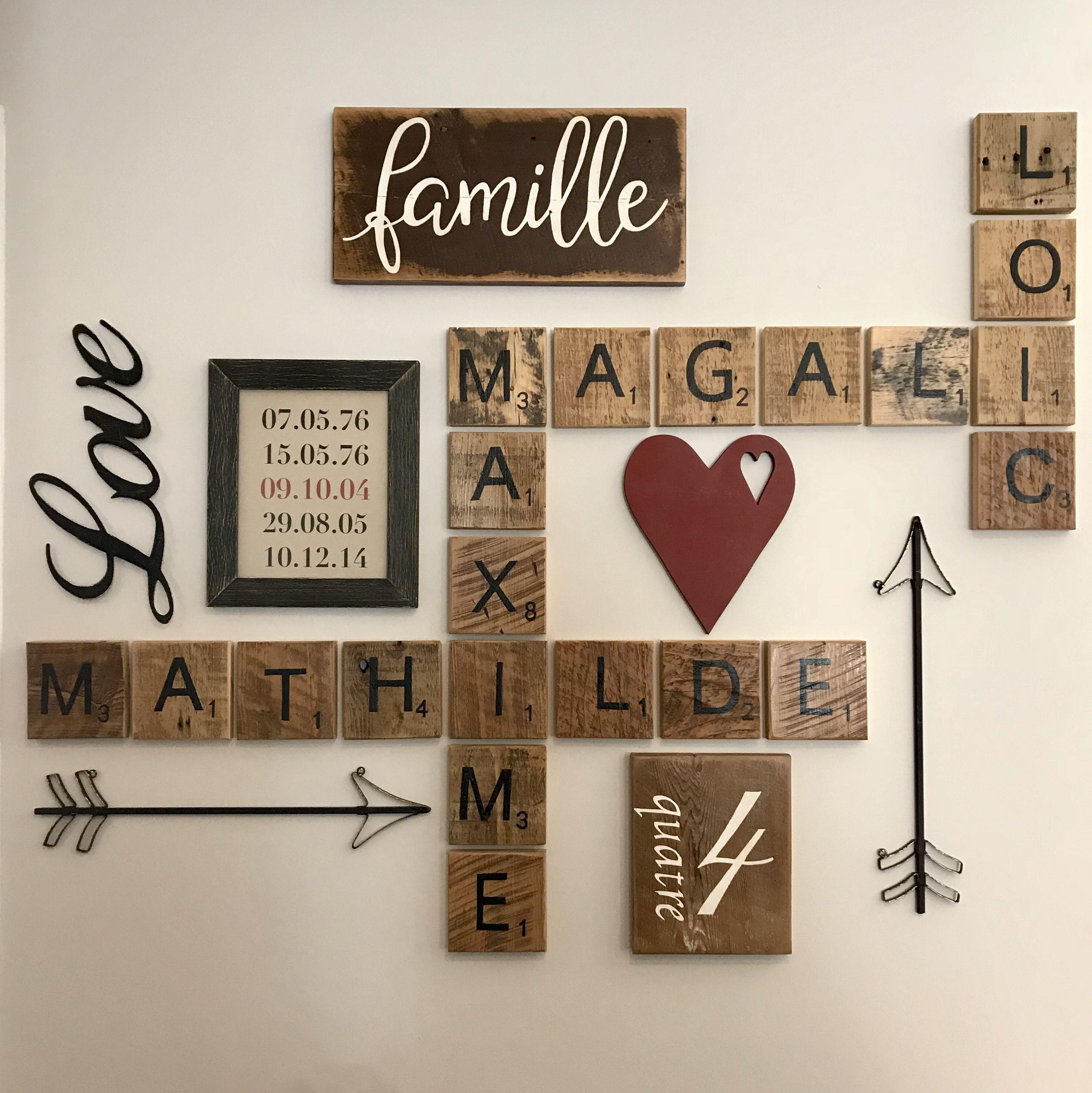 Decoration Murale Famille Lettres De Scrabble Cœur De Bois Love Fleches Lettre Scrabble Deco Decoration Salle A Manger Lettres Scrabble