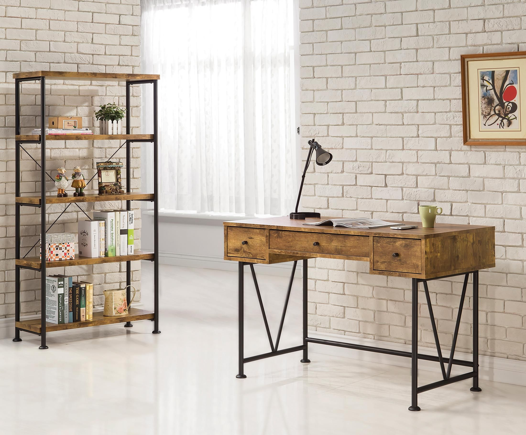 Coaster Barritt Industrial Style Writing Desk With 3 Drawers  # Muebles Coaster