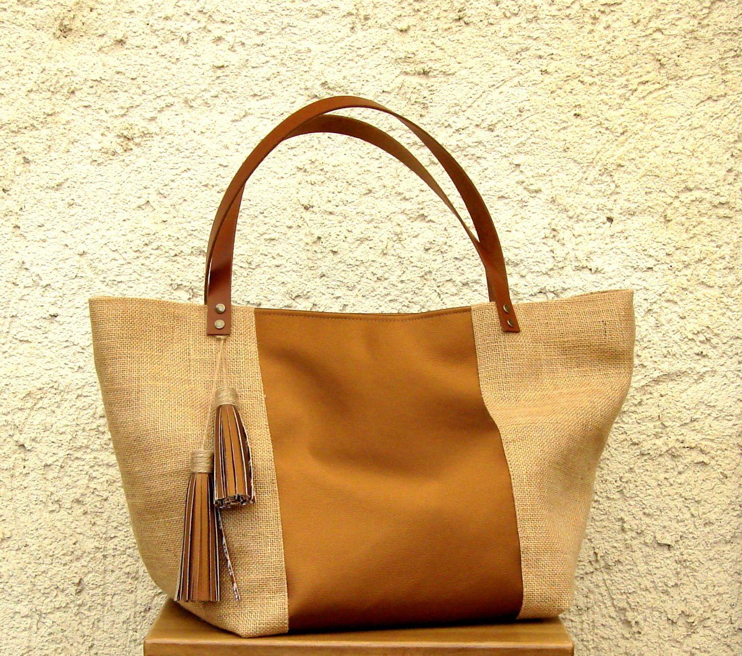 grand sac cabas ou shopping en toile de jute lounah couture pinterest. Black Bedroom Furniture Sets. Home Design Ideas