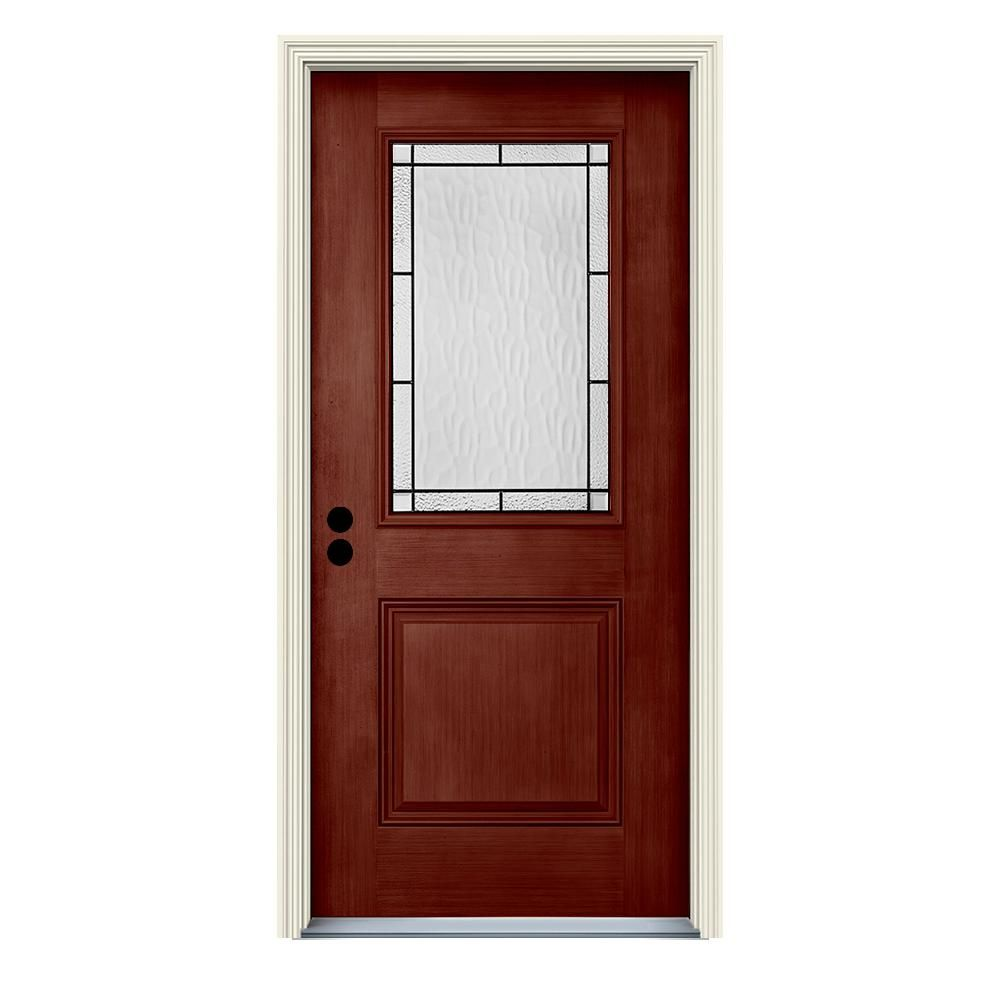 Jeld Wen 36 In X 80 In Right Hand 1 2 Lite Wendover Black Cherry Stained Fiberglass Prehung Front Door With Brickmould Products Exterior Doors Exterior