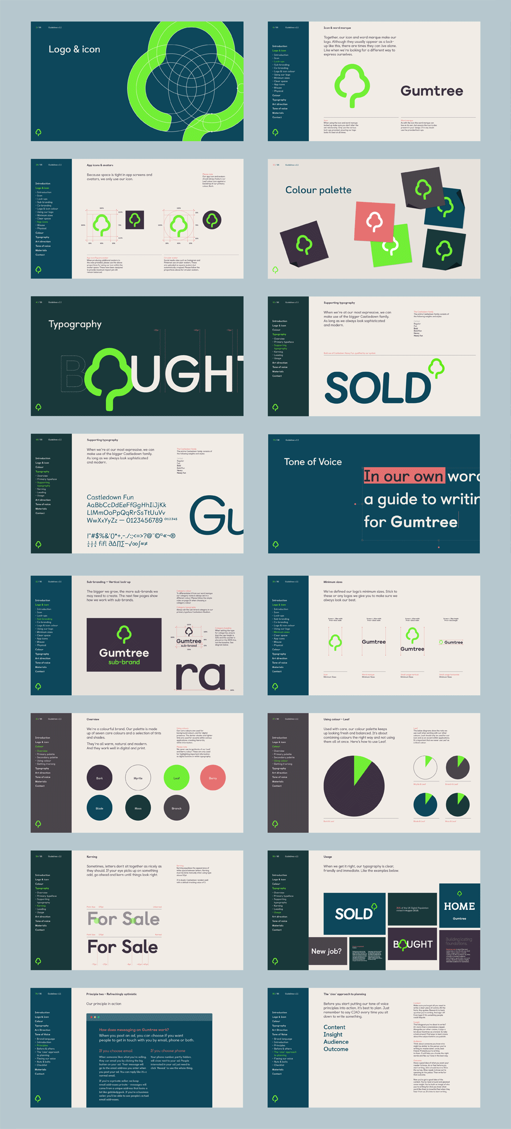 Brand Identity Guideline Pages Brand New New Logo And Identity For Gumtree By Koto Brand Identity Guidelines Brand Book Brand Guidelines