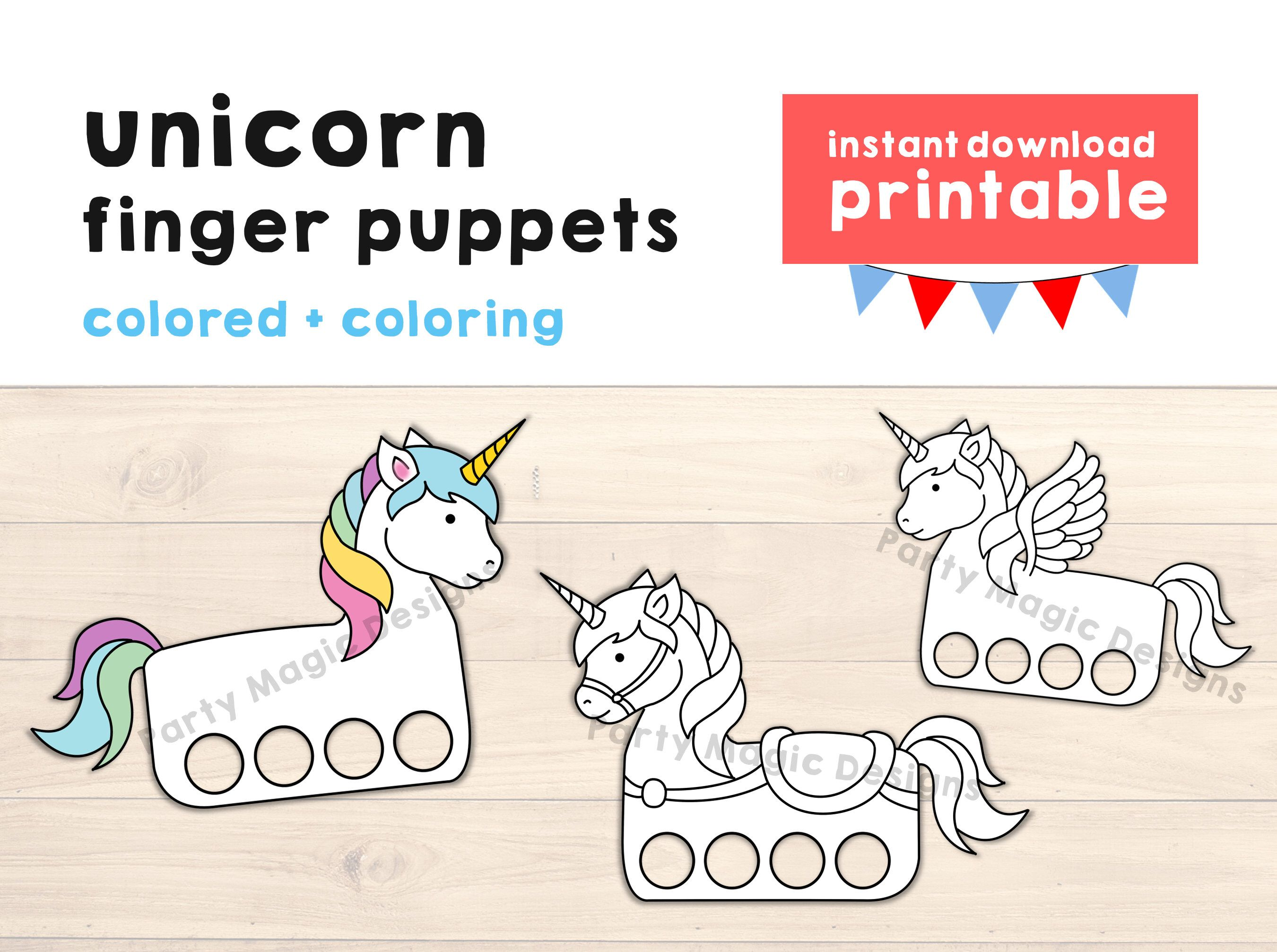 Unicorn Paper Craft Printable Finger Puppet Kids Craft Unicorn Etsy In 2021 Kids Party Crafts Birthday Party Crafts Coloring For Kids