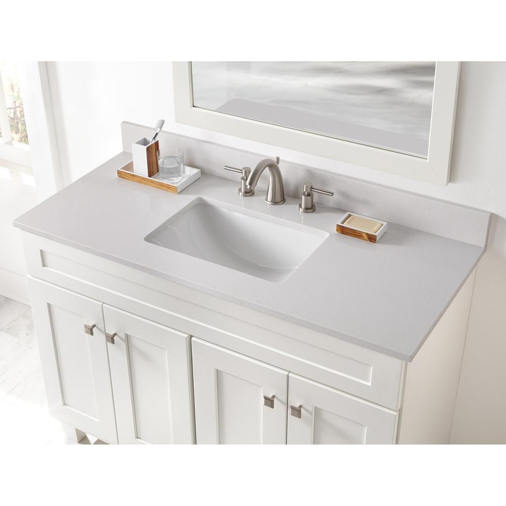 Home Decorators Collection 49 In W X 22 In D Engineered Marble Vanity Top In Snowstorm With White Single Trough Sink 49203 The Home Depot Marble Vanity Tops Vanity Top Vanity