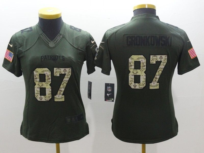 best website f9643 d7a0c Women New England Patriots 87 Rob Gronkowski Green Salute To ...