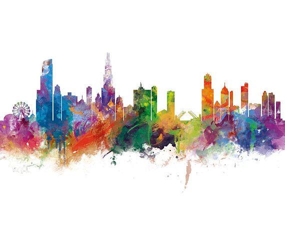 Chicago Print Chicago Skyline Illinois Poster Wall Art Etsy Chicago Art Print Chicago Print Chicago Art