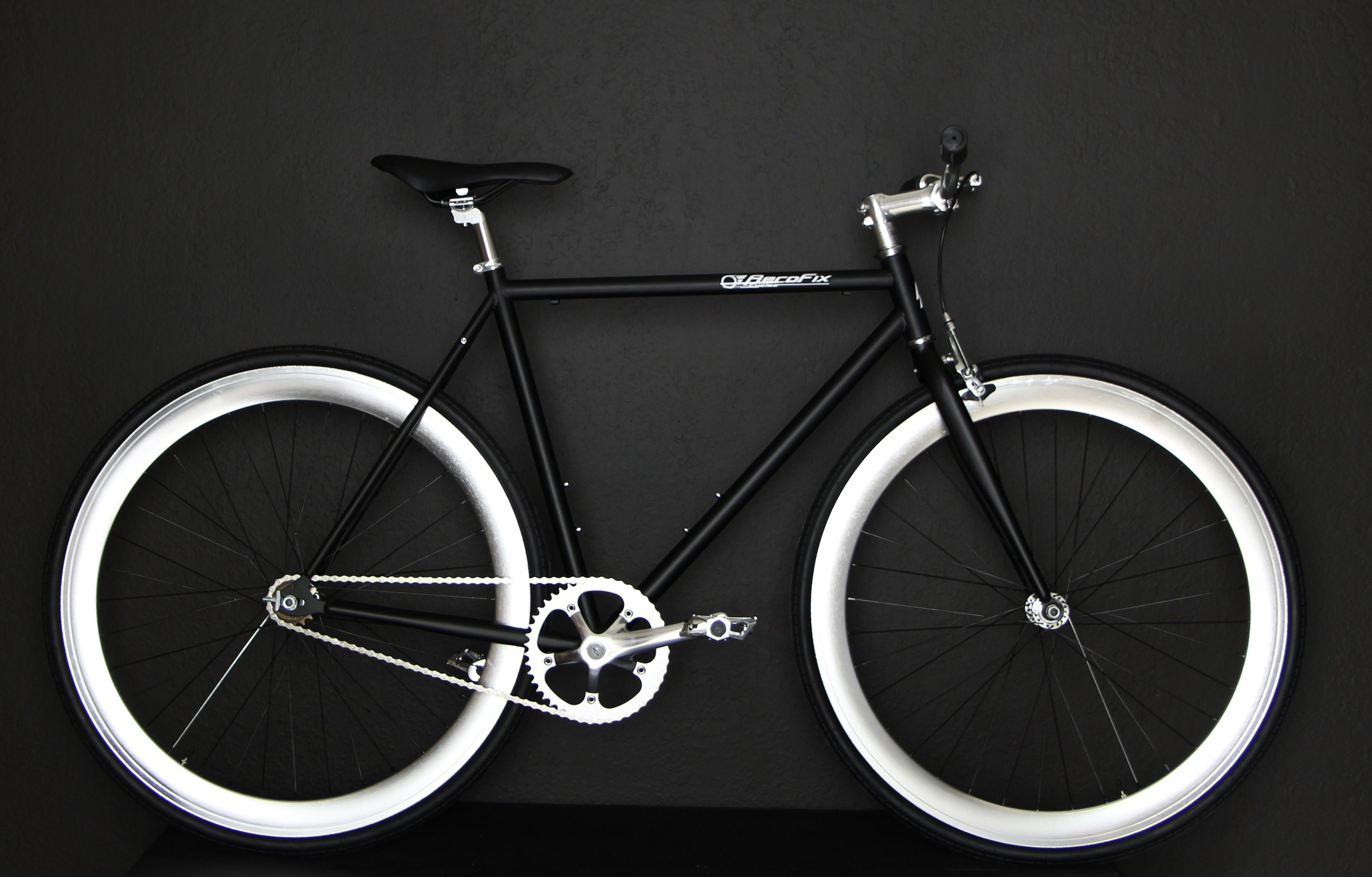 Black anodize silver rim fixie single speed fixed gear bicycle bike