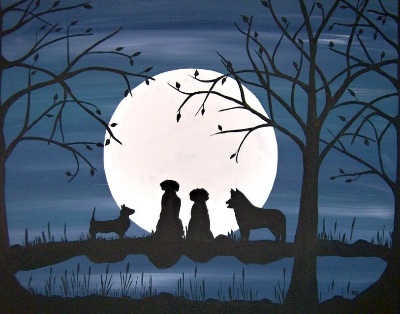 Dog Silhouette Painting Google Search Painting Silhouette