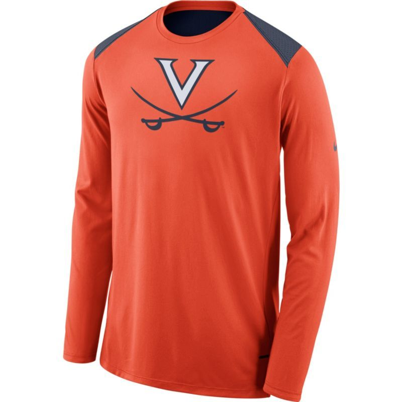 Nike Men's Virginia Cavaliers Orange Elite Shooter Long Sleeve Shirt, Team