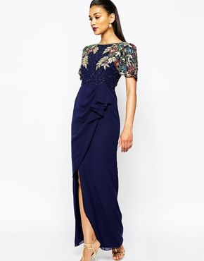Ariann Embellished Maxi Dress With Frill Wrap Skirt - Navy Virgos Lounge Plus dkwwDLhE