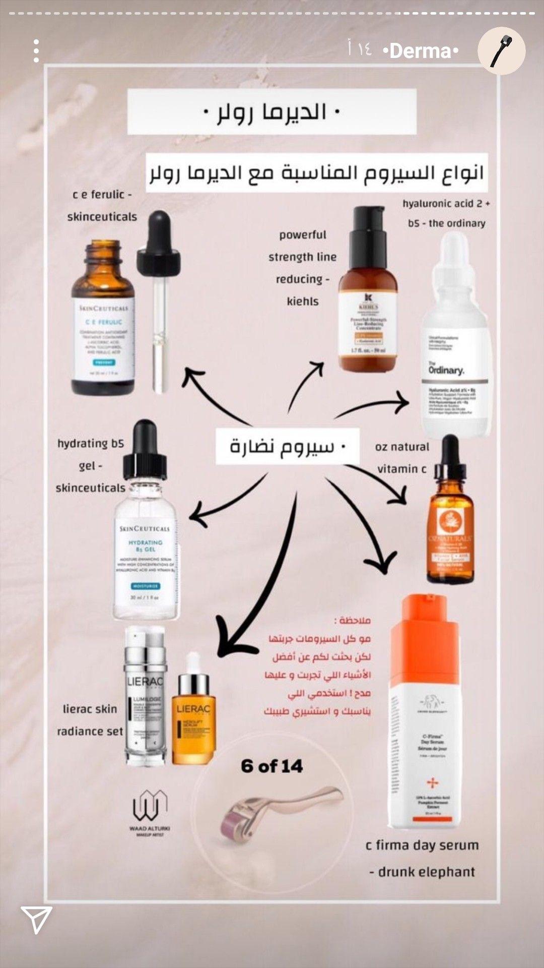 افضل انواع سيروم النضاره المناسبه مع الديرما رولر Maskcara Makeup Skin Care Women Ferulic