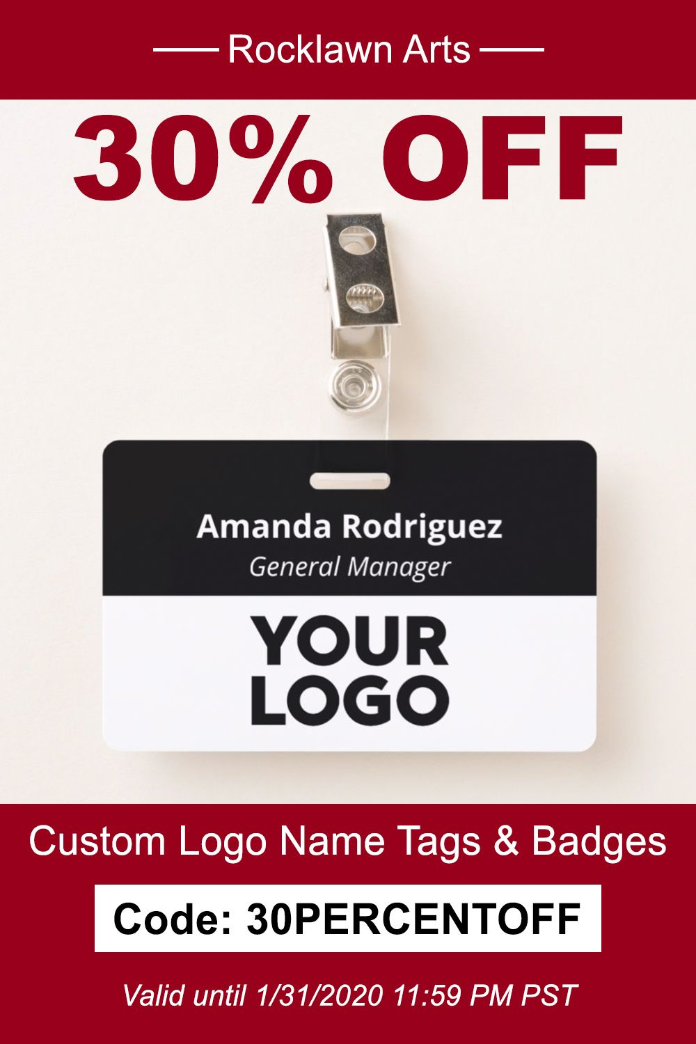 Add your logo to custom name tags and employee badges to