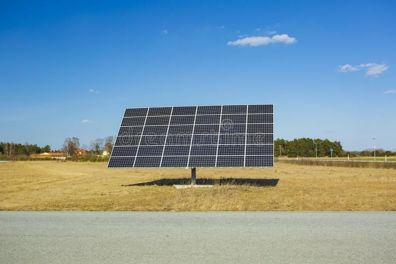 Huge Solar Panel On Blue Sky Background New Technology Concept Ad Panel Blue Huge Solar Technology Ad Solar Panels Blue Sky Background Solar