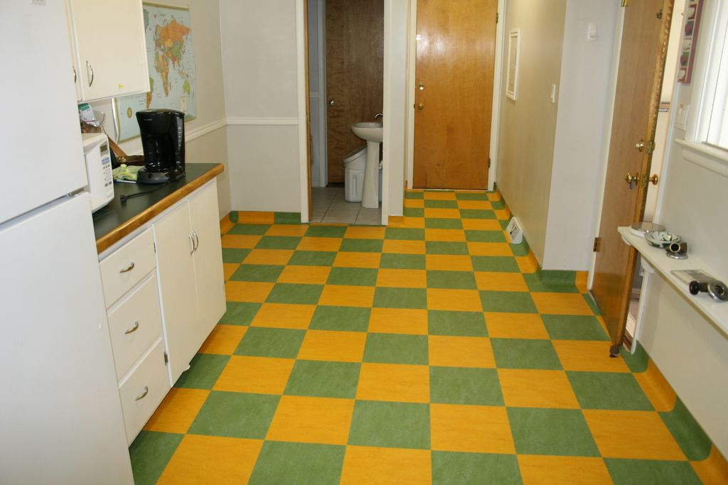 Kitchen Marmoleum Tile In Vibrant Green And Yellow By Barry
