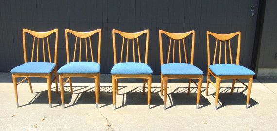 Five Vintage Mid Century Modern Dining Room Chairs By Keller