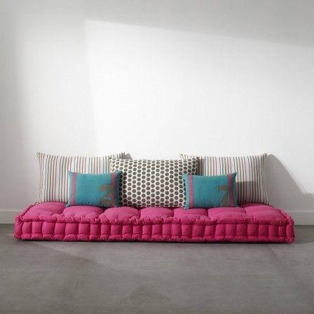 Matelas capitonn avec coussin couchage futon ou grand coussin de sol pour ch - Matelas futon 120x190 ...