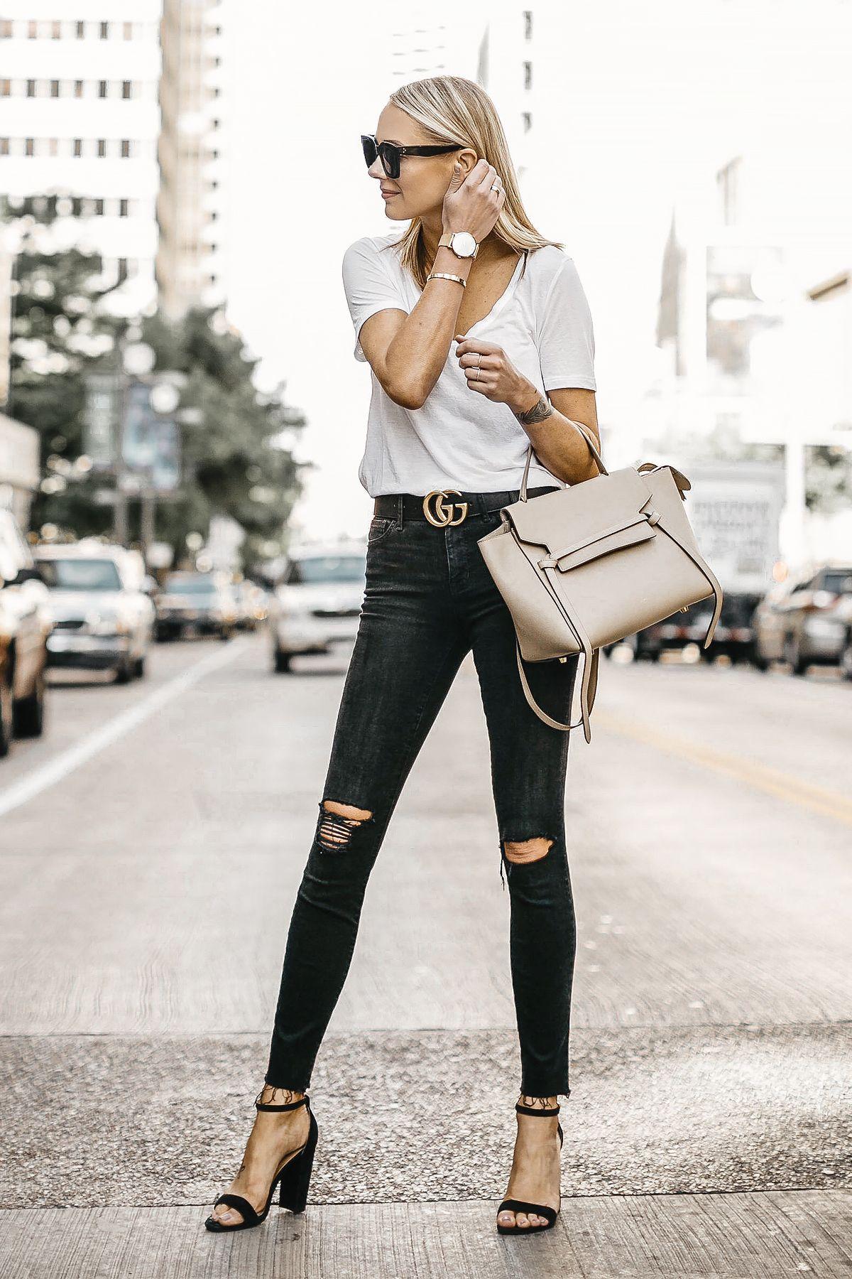 25159385c6f Blonde Woman Wearing White Tshirt Black Ripped Skinny Jeans Gucci Marmont  Belt Black Ankle Strap Heeled Sandals Celine Mini Belt Bag Fashion Jackson  Dallas ...