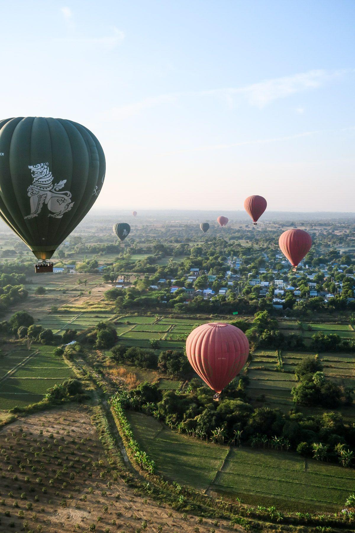Hot Air Balloon Ride Over Bagan Temples in Myanmar Air