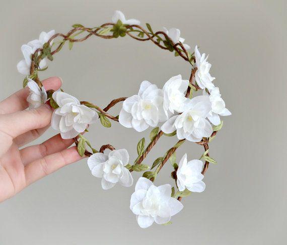 White Flower Crown Boho Bridal Hair Woodland Wedding Head Piece