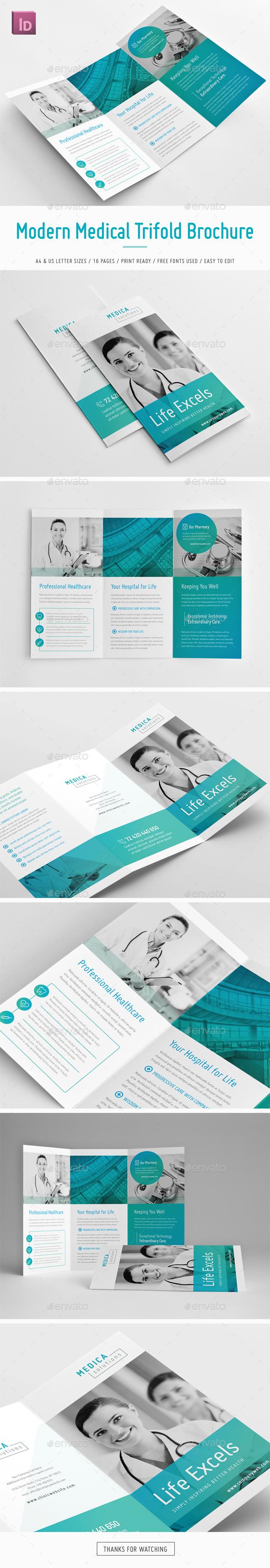 Modern Medical Trifold Brochure | Broschüre vorlage, Leporello und ...
