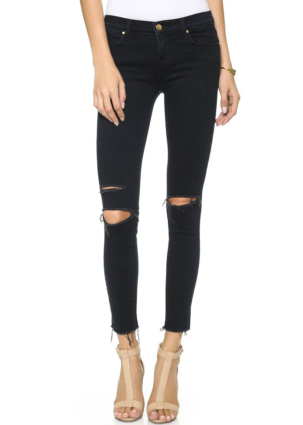 Black skinny ripped knee jeans, want to wear in winter with