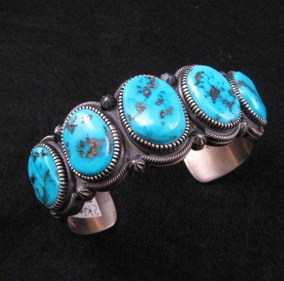 Mens Navajo Turquoise Sterling Silver Bracelet by Kirk Smith