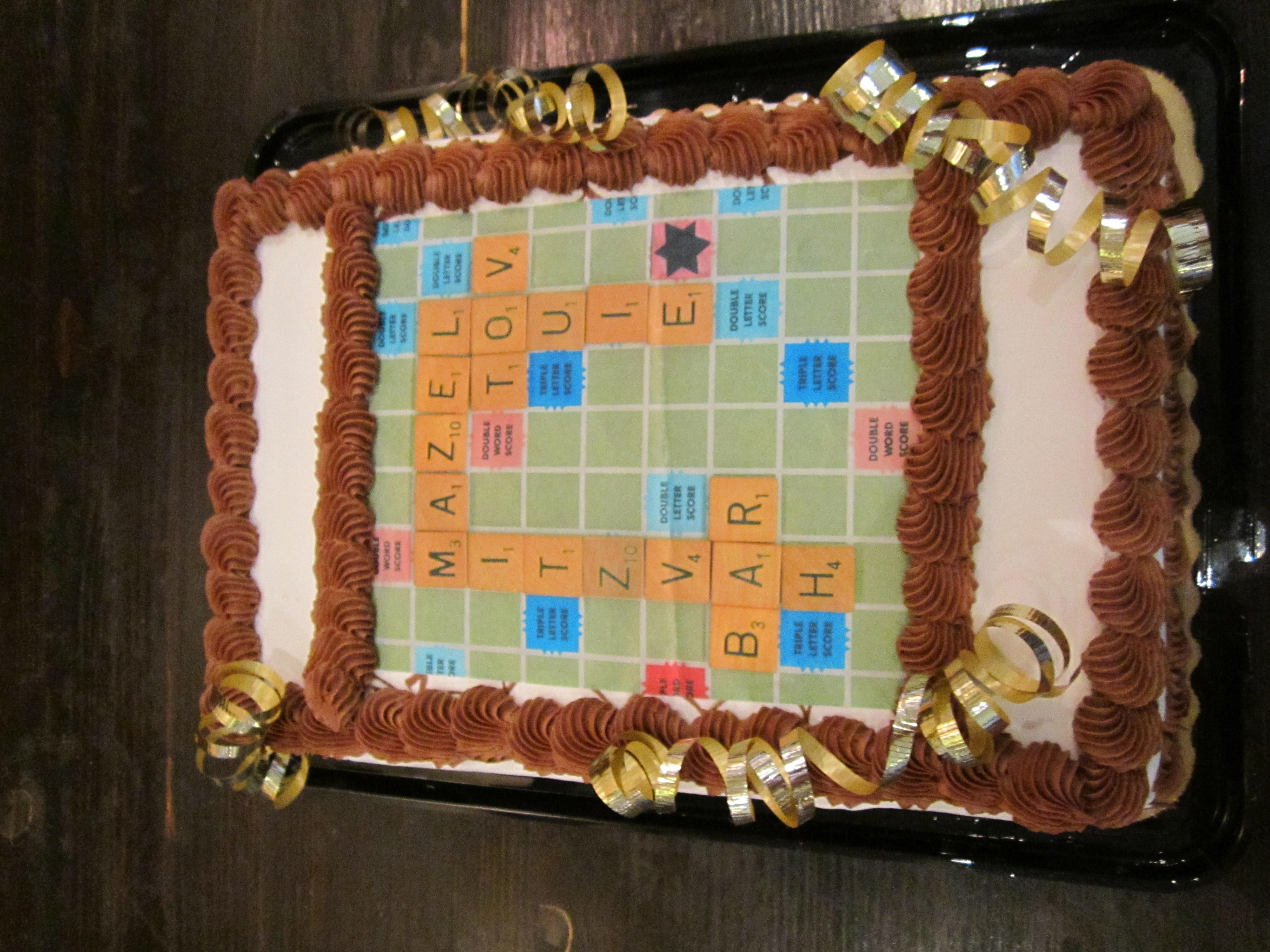 Scrabble Bar Mitzvah cake
