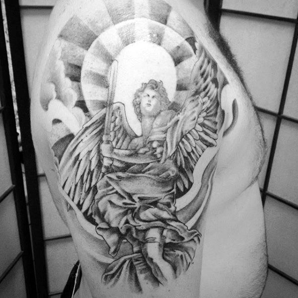 guys arms guardian angel with bright halo tattoo