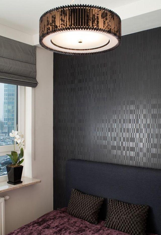 farbgestaltung im schlafzimmer-ideen-tapete-dunkelgrau-glanz - tapeten fürs schlafzimmer