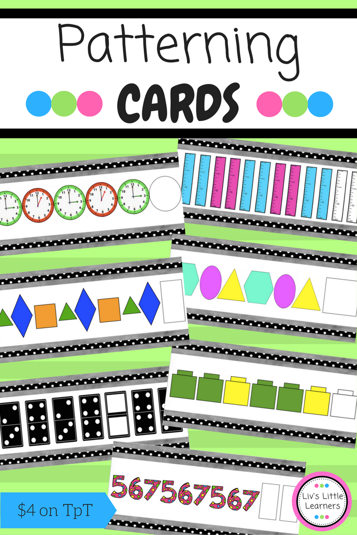 Patterning Cards Copy Continue Create Describe Math Patterns Math Manipulatives Math [ 1102 x 735 Pixel ]