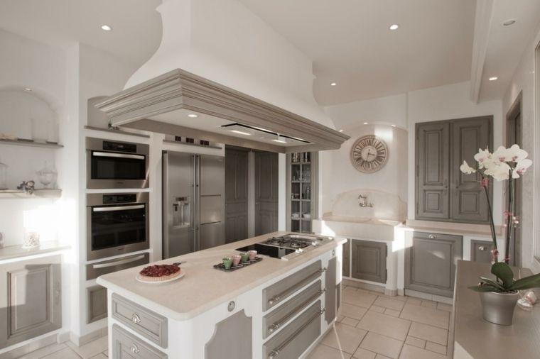 arredo bianco e grigio per cucine in muratura con isola attrezzata ...