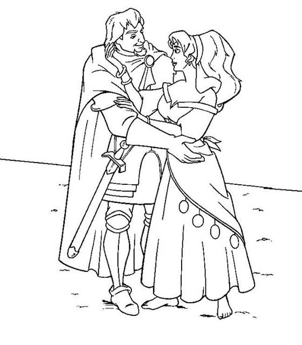Phoebus And Esmeralda From The Hunchback Of Notre Dame Coloring Page Download Print Online Colo Coloring Pages Cartoon Coloring Pages Online Coloring Pages