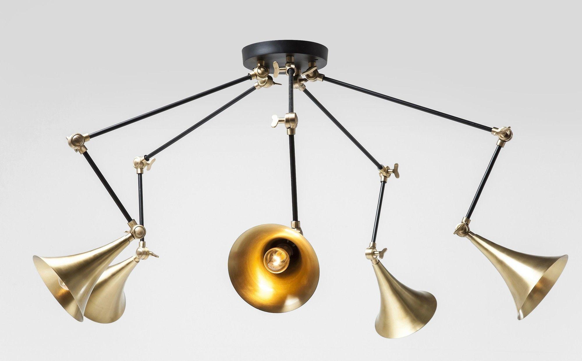 Spider hanglamp brons kare design verlichting