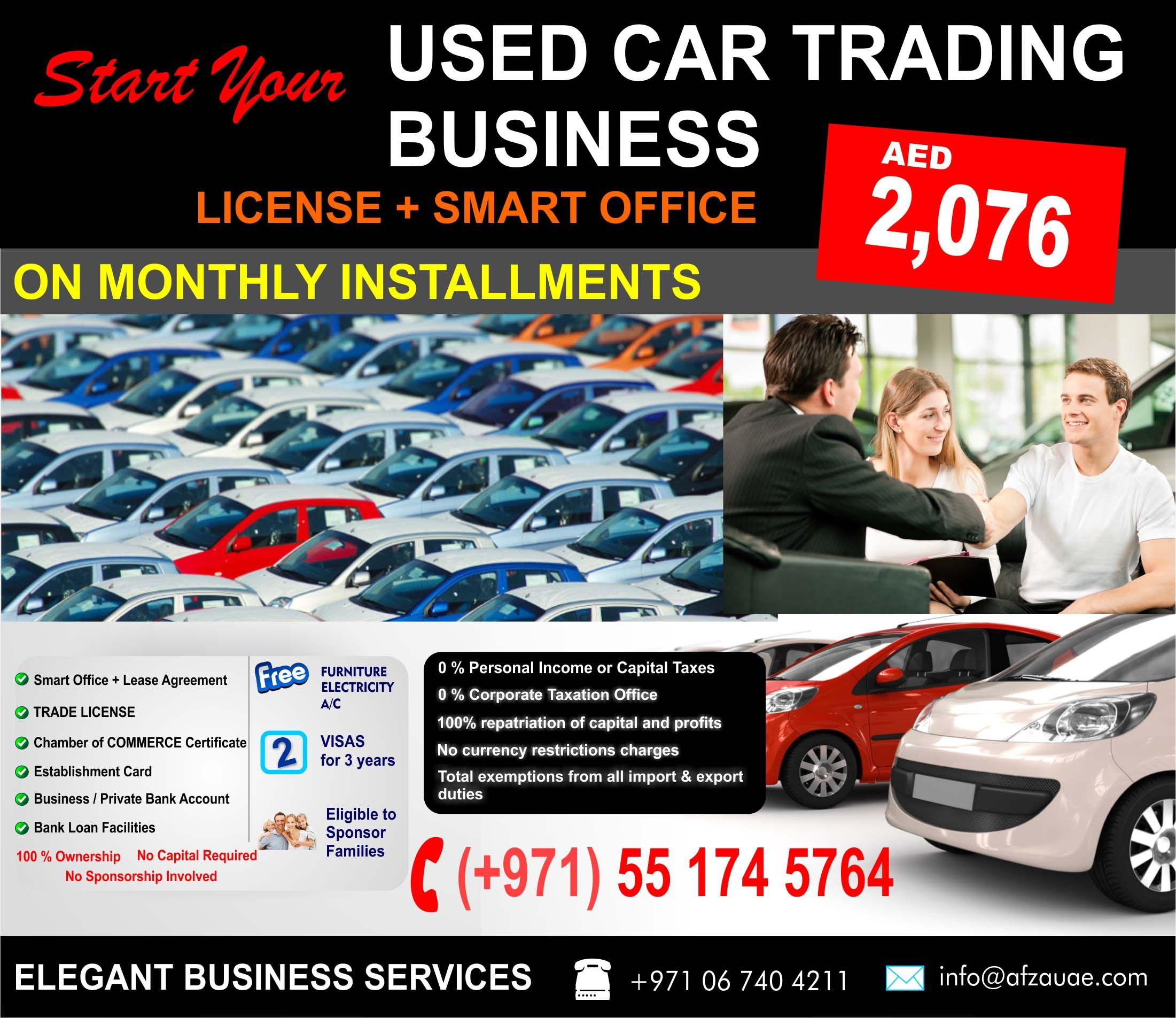 Start your new business used car service license in uae on monthly installments 2 076 aed per month with smart office trade license lease agreement