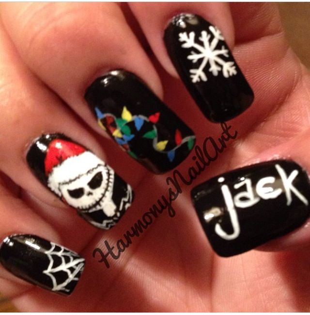 nightmare before christmas nails by far the best ive seen - Nightmare Before Christmas Nail Art