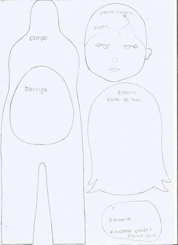 Moldes muñeca embarazada en fieltro | muñecas lindas 2 | Felt dolls ...