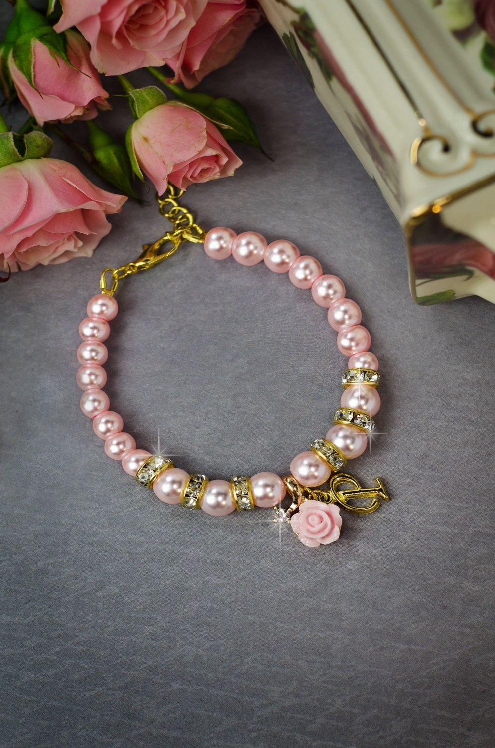 Flower girl bracelet childrens jewelry flower girl gift blush pearl