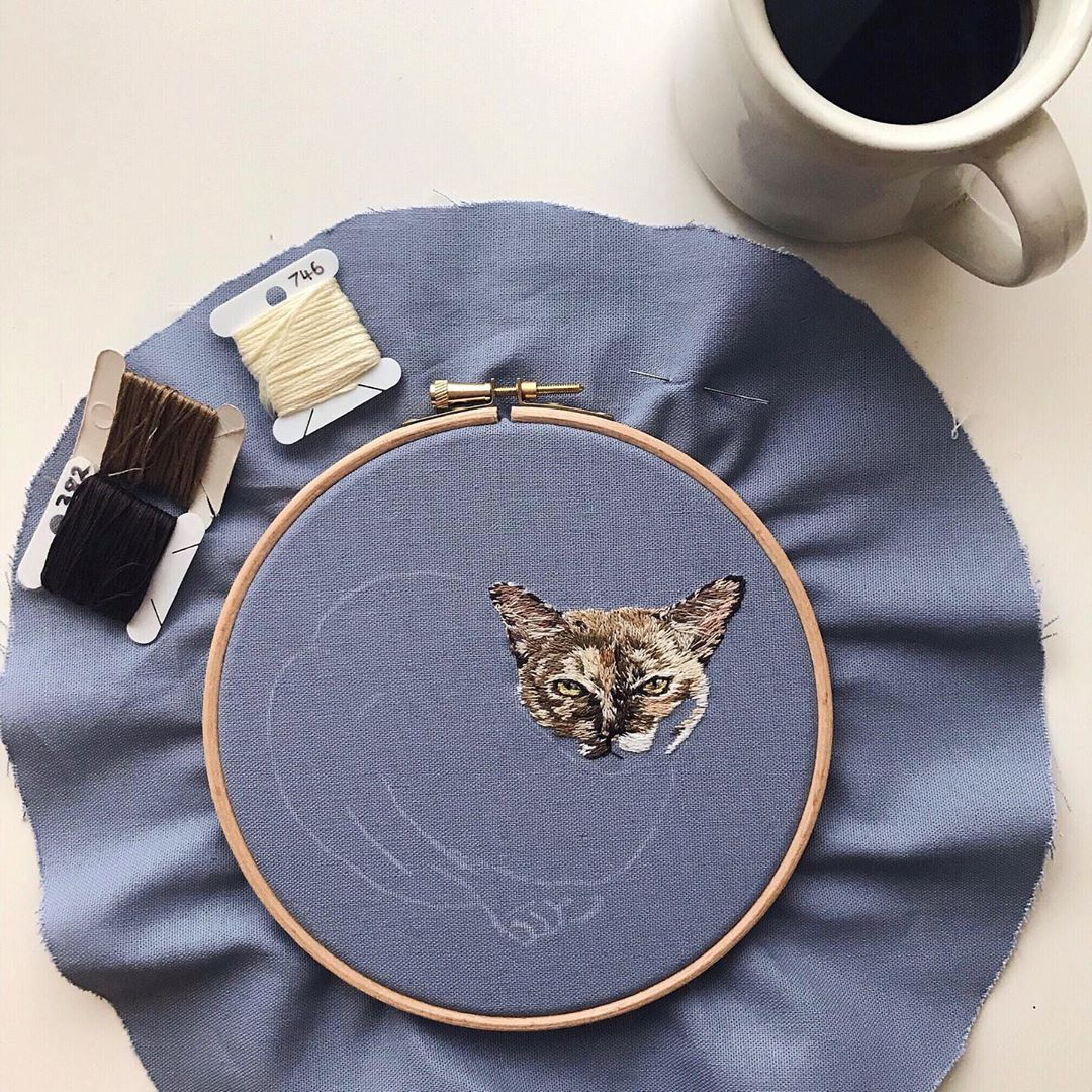 Quite brave posing with my coffee so close... I usually ban all drinks within a ... #art #artisia #Artist #artwork #britishstitchers #broderie #burmese